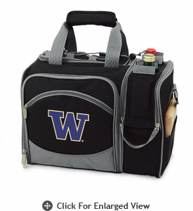 Picnic Time Malibu Embroidered - Black University of Washington Huskies