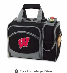 Picnic Time Malibu Embroidered - Black University of Wisconsin Badgers