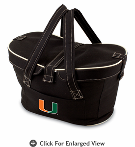 Picnic Time Mercado Basket - Black University of Miami Hurricanes