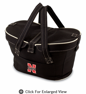 Picnic Time Mercado Basket - Black University of Nebraska Cornhuskers