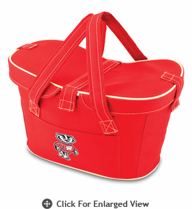 Picnic Time Mercado Basket - Red University of Wisconsin Badgers