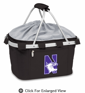 Picnic Time Metro Basket Digital Print - Black Northwestern University Wildcats