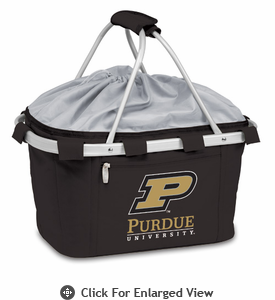 Picnic Time Metro Basket Digital Print - Black Purdue University Boilermakers