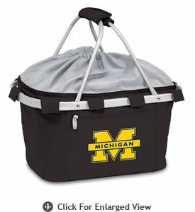 Picnic Time Metro Basket Digital Print - Black University of Michigan Wolverines