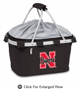 Picnic Time Metro Basket Digital Print - Black University of Nebraska Cornhuskers