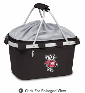 Picnic Time Metro Basket Digital Print - Black University of Wisconsin Badgers