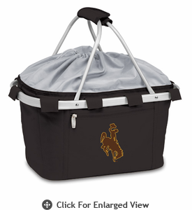 Picnic Time Metro Basket Digital Print - Black University of Wyoming Cowboys