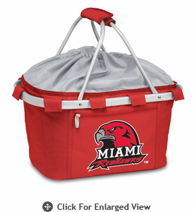 Picnic Time Metro Basket Digital Print - Red Miami University Red Hawks