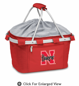 Picnic Time Metro Basket Digital Print - Red University of Nebraska Cornhuskers