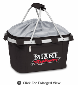Picnic Time Metro Basket Embroidered- Black Miami University Red Hawks