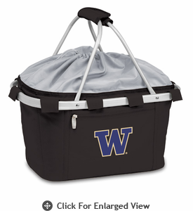 Picnic Time Metro Basket Embroidered- Black University of Washington Huskies