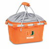 Picnic Time Metro Basket Embroidered- Orange University of Miami Hurricanes