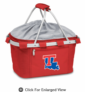 Picnic Time Metro Basket Embroidered- Red Louisiana Tech Bulldogs
