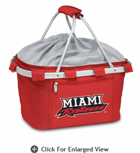 Picnic Time Metro Basket Embroidered- Red Miami University Red Hawks