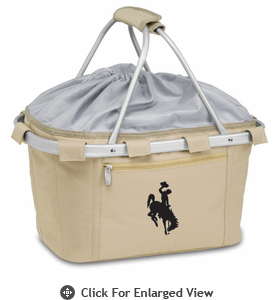 Picnic Time Metro Basket Embroidered- Tan University of Wyoming Cowboys