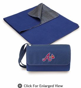 Picnic Time MLB Blanket Tote - Navy Blue Atlanta Braves
