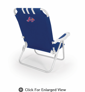 Picnic Time MLB Monaco Beach Chair - Navy Blue Atlanta Braves
