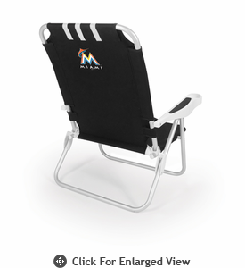 Picnic Time Monaco Beach Chair - Black Miami Marlins