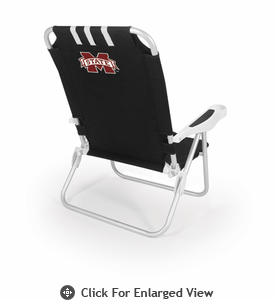 Picnic Time Monaco Beach Chair - Black Mississippi State Bulldogs