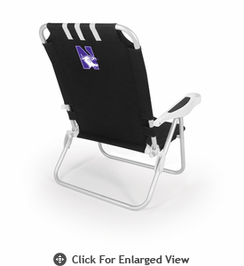 Picnic Time Monaco Beach Chair - Black Northwestern University Wildcats