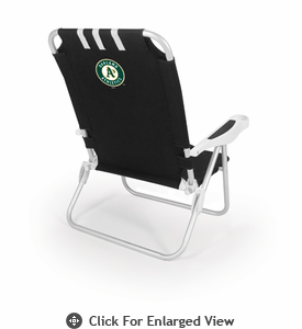 Picnic Time Monaco Beach Chair - Black Oakland Athletics