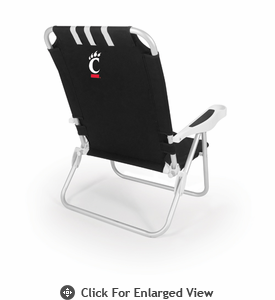 Picnic Time Monaco Beach Chair - Black University of Cincinnati Bearcats