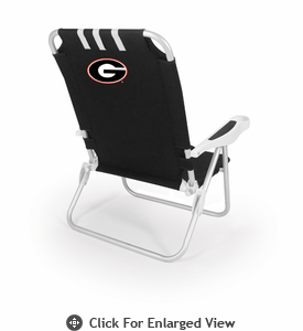 Picnic Time Monaco Beach Chair - Black University of Georgia Bulldogs