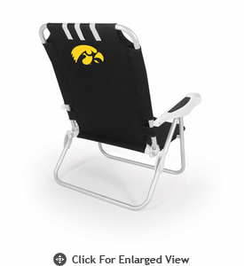 Picnic Time Monaco Beach Chair - Black University of Iowa Hawkeyes