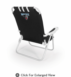 Picnic Time Monaco Beach Chair - Black University of Maine Black Bears