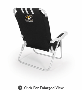 Picnic Time Monaco Beach Chair - Black University of Missouri Tigers