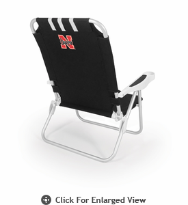 Picnic Time Monaco Beach Chair - Black University of Nebraska Cornhuskers