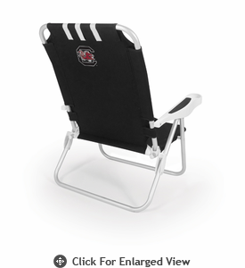 Picnic Time Monaco Beach Chair - Black University of South Carolina Gamecocks