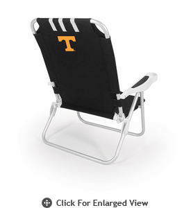 Picnic Time Monaco Beach Chair - Black University of Tennessee Volunteers