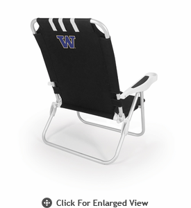 Picnic Time Monaco Beach Chair - Black University of Washington Huskies