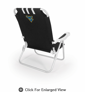 Picnic Time Monaco Beach Chair - Black West Virginia University Mountaineers