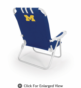 Picnic Time Monaco Beach Chair - Blue University of Michigan Wolverines