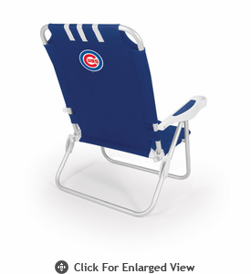 Picnic Time Monaco Beach Chair - Navy Blue Chicago Cubs