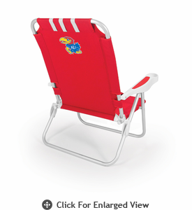 Picnic Time Monaco Beach Chair - Red University of Kansas Jayhawks