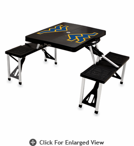 Picnic Time Picnic Table Black West Virginia University Mountaineers