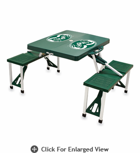 Picnic Time Picnic Table Green Colorado State Rams