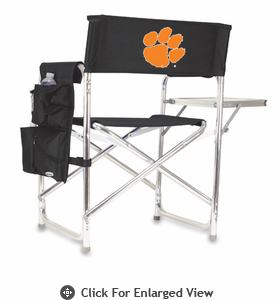 Picnic Time Sports Chair - Black Digital Print Clemson University Tigers