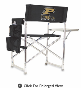 Picnic Time Sports Chair - Black Digital Print Purdue University Boilermakers