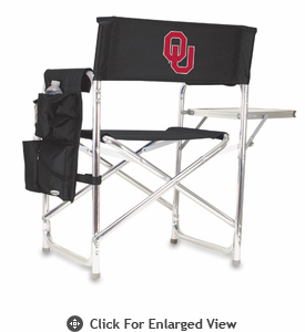 Picnic Time Sports Chair - Black Digital Print University of Oklahoma Sooners