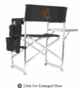 Picnic Time Sports Chair - Black Digital Print University of Wyoming Cowboys