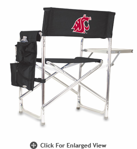 Picnic Time Sports Chair - Black Digital Print Washington State Cougars