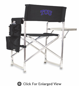 Picnic Time Sports Chair - Black Embroidered TCU Horned Frogs