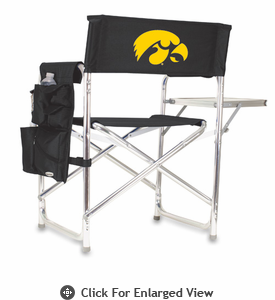 Picnic Time Sports Chair - Black Embroidered University of Iowa Hawkeyes