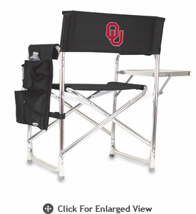 Picnic Time Sports Chair - Black Embroidered University of Oklahoma Sooners