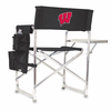 Picnic Time Sports Chair - Black Embroidered University of Wisconsin Badgers