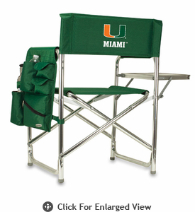 Picnic Time Sports Chair - Hunter Green Digital Print University of Miami Hurricanes